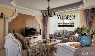 巫小伟欧式田园风格公寓140平米以上电视背景墙设计图纸