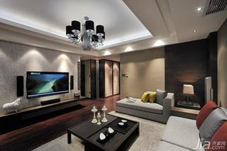 新中式风格四房富裕型电视背景墙客厅灯效果图