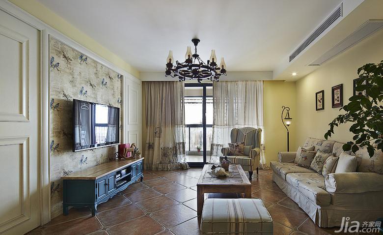 美式乡村风格二居室90平米客厅电视背景墙地砖效果图高清图片
