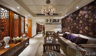 十上混搭风格130平米客厅沙发背景墙壁纸效果图