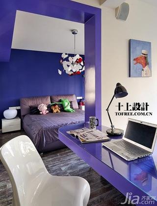 十上简约风格紫色卧室卧室背景墙效果图