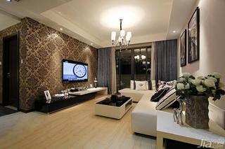 简约风格富裕型电视背景墙电视柜婚房家装图片