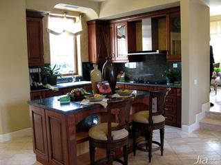 美式乡村风格别墅厨房厨房吧台效果图