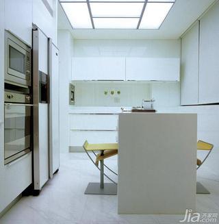 简约风格四房白色豪华型厨房吧台整体橱柜效果图