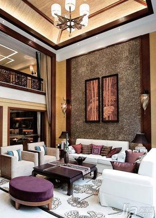 东南亚风格别墅豪华型沙发背景墙装修效果图