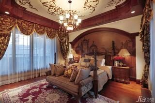 地中海风格别墅奢华富裕型卧室卧室背景墙床图片