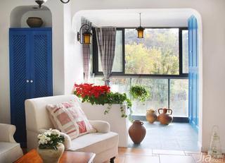 地中海风格三居室富裕型阳台隔断婚房家装图