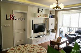 田园风格三居室90平米阳台电视背景墙装修效果图