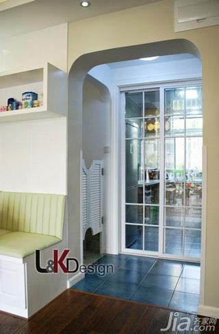 田园风格三居室90平米厨房过道装修图片