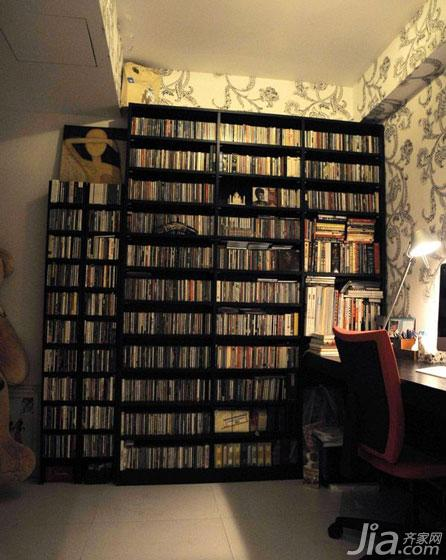 loft风格100平米书房书柜效果图