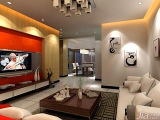 简约风格二居室3万以下60平米客厅电视背景墙沙发三口之家平面图