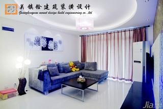 简约风格二居室乐活蓝色5-10万60平米客厅沙发背景墙沙发新房家居图片