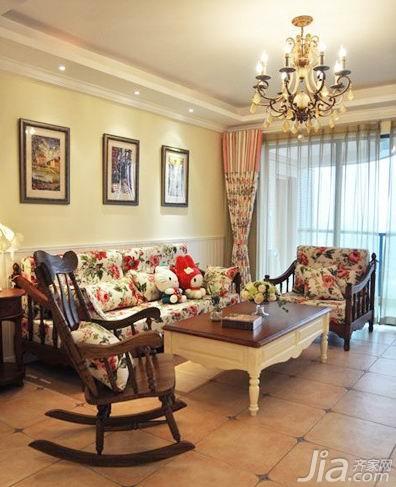 田园风格二居室温馨经济型60平米客厅沙发效果图