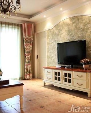 田园风格二居室经济型60平米客厅电视背景墙电视柜效果图