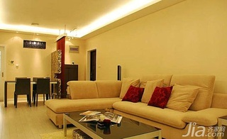 欧式风格二居室客厅沙发婚房平面图