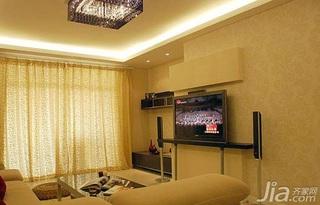 欧式风格二居室客厅电视背景墙窗帘婚房设计图