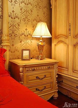 欧式风格二居室卧室壁纸婚房家装图片