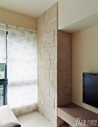 简约风格二居室5-10万60平米客厅电视背景墙窗帘新房家装图片