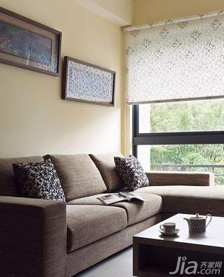 简约风格二居室5-10万60平米客厅窗帘新房家装图
