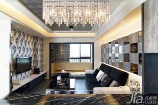 简约风格二居室5-10万50平米客厅沙发背景墙灯具新房平面图
