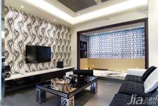 简约风格二居室5-10万50平米客厅电视背景墙茶几新房家装图