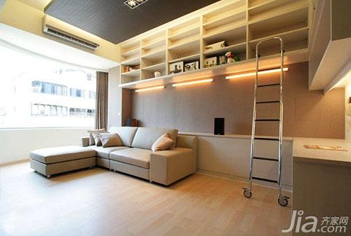 简约风格二居室5-10万60平米玄关楼梯书架新房家居图片