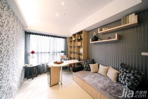 简约风格二居室5-10万60平米玄关背景墙书架新房家装图