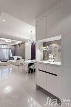 简约风格二居室简洁白色3万以下60平米客厅鞋柜新房家装图