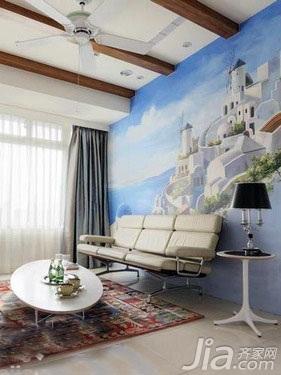 地中海风格二居室5-10万50平米客厅背景墙沙发新房平面图