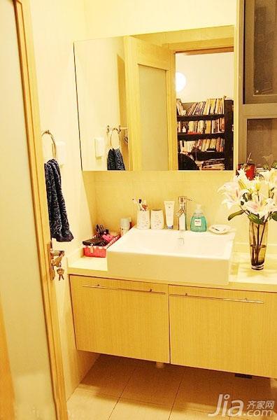 简约风格一居室简洁3万以下50平米客厅背景墙洗手台新房平面图