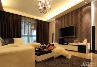 二居室5-10万80平米客厅壁纸图片