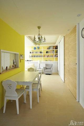 田园风格复式5-10万70平米客厅餐厅背景墙餐桌新房家装图片