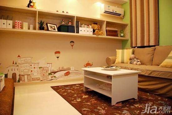 宜家风格二居室10-15万80平米客厅背景墙沙发效果图