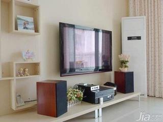 田园风格二居室15-20万100平米玄关电视背景墙新房家装图