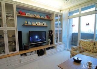 田园风格二居室10-15万70平米电视背景墙新房家装图