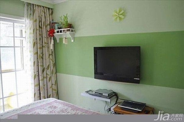 田园风格一居室温馨绿色10-15万70平米玄关电视背景墙新房平面图