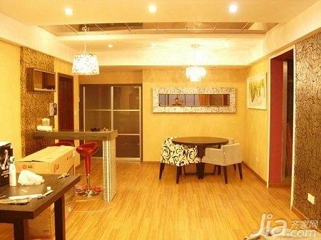 新古典风格二居室简洁5-10万80平米玄关吧台餐桌婚房家装图片