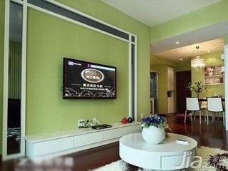 田园风格四房绿色10-15万80平米电视背景墙茶几新房家装图