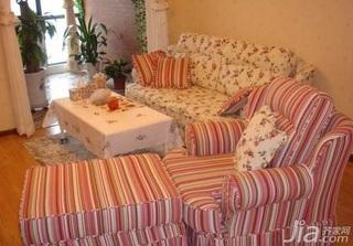 田园风格二居室3万以下70平米客厅沙发新房家装图片