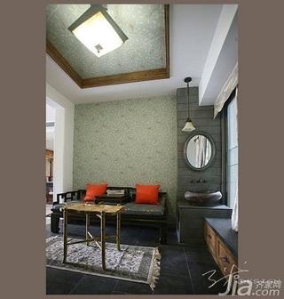 中式风格二居室5-10万80平米飘窗壁纸新房家装图片