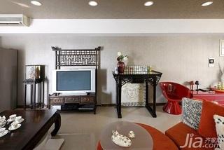 中式风格二居室10-15万80平米客厅茶几新房家装图