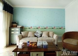 地中海风格二居室5-10万60平米客厅沙发背景墙沙发新房设计图纸