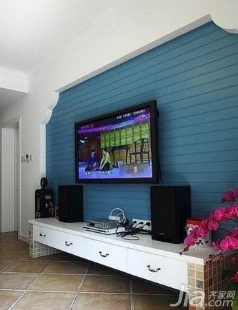 地中海风格二居室5-10万60平米电视背景墙新房家装图