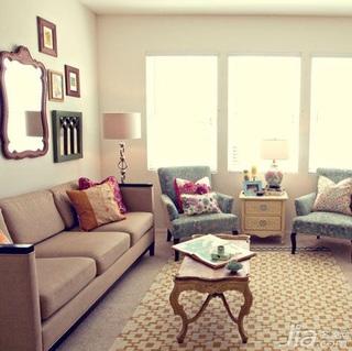 混搭风格二居室5-10万60平米客厅沙发背景墙沙发新房设计图纸