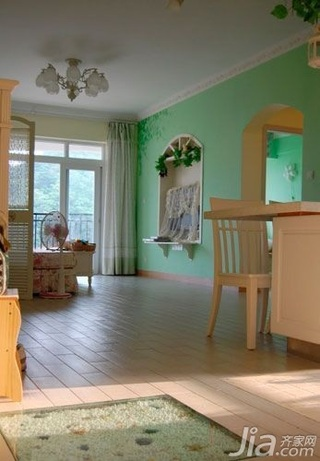 田园风格二居室10-15万80平米餐厅吧台婚房平面图