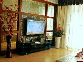 田园风格富裕型90平米客厅电视背景墙电视柜效果图