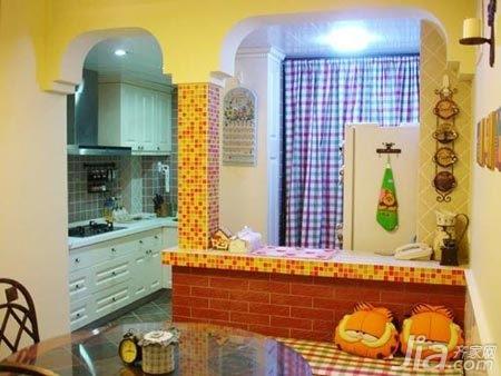 田园风格二居室5-10万90平米餐厅橱柜新房设计图