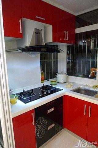 欧式风格二居室红色10-15万80平米厨房橱柜安装图