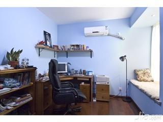 东南亚风格二居室5-10万80平米书房飘窗书桌新房平面图