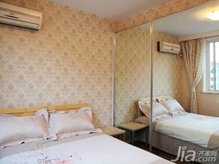 田园风格二居室10-15万90平米卧室背景墙床新房家装图片